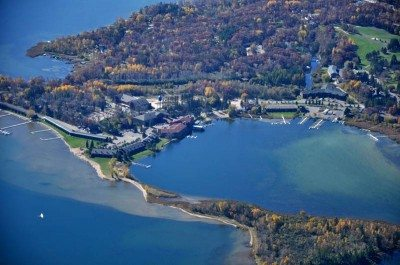 aerial view of breezy point resort
