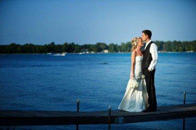 bridal couple on dock